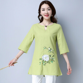 Harga New style hand-painted linen Top (Green) (Green)