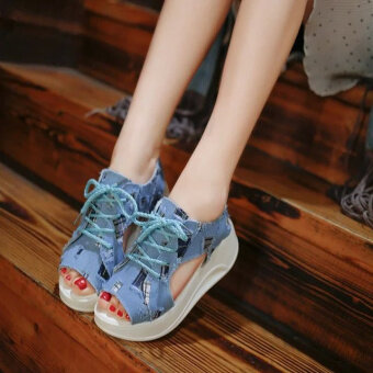 Harga New style heavy-bottomed lace Korean-style denim cloth canvasshoes, fish head (Blue)