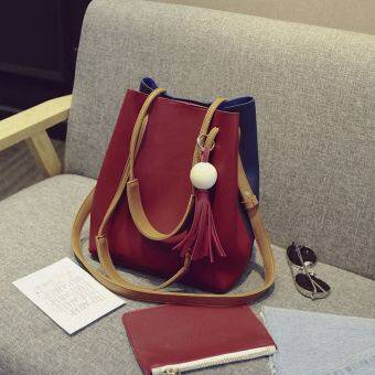 New style hit color Korean-style tassel bucket bag (Red with blue) (