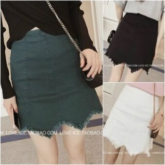 Harga New style raw-cut irregular wavy skirt (Green) (Green)