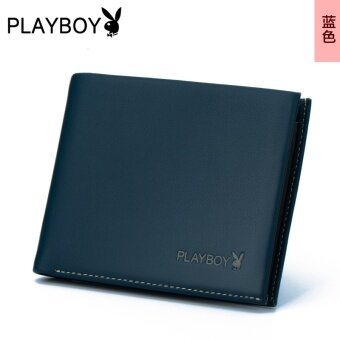 Play boy leather thin cross leather wallet men's wallet (Blue)