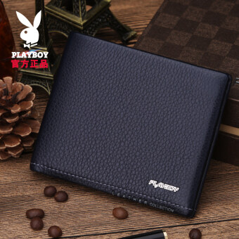 ... PLAYBOY fashion leather blue soft leather clip wallet