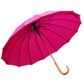 115cm solid wood curved handle anti-wind double umbrella long-handled umbrella (Plum red)