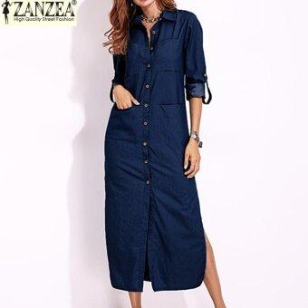 S-5XL ZANZEA Women Long Sleeve Buttons Down Shirt Dress Denim Blue Split Asymmetrical Long Dress Plus Size (Dark Blue)