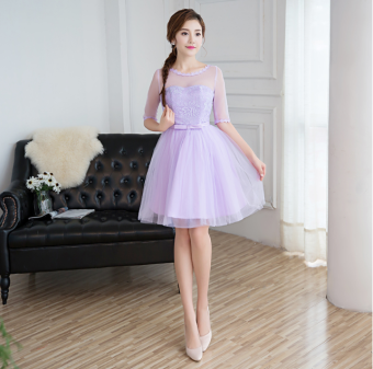 Harga Sisters New style short paragraph a word shoulder dress bridesmaiddress (Purple. A.007 short paragraph) (Purple. A.007 shortparagraph)