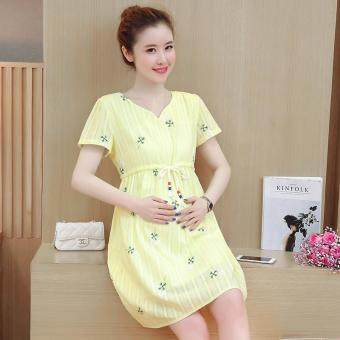 Small Wow Maternity Elegant Round Print Cotton Loose Above KneeDress Yellow