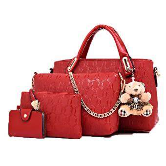 Harga SoKaNo Trendz 5in1 Set Crocodile Faux Tote Bags with Bear 5059_Red