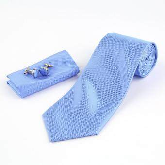 Solid Series Tie Necktie Mens Tie Party Tie Hanky Cufflink Set Classic Light Blue