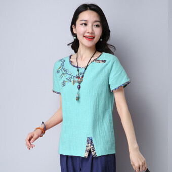 Harga Stitching embroidery female Slimming effect Top T-shirt (Green) (Green)