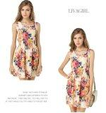 Summer Collection: Chiffon Sleeveless Floral Dress (Free Size) 1138-Free Size  1138-Free Size