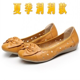 ... Leather women s shoes flat heel casual shoes Beige hole models with flat version2