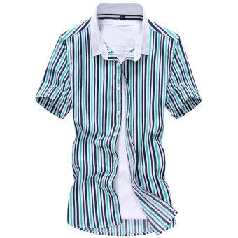 Men's Korean-style Floral Pattern Thin Short Sleeve Shirt (D21Huang) (D21Huang)