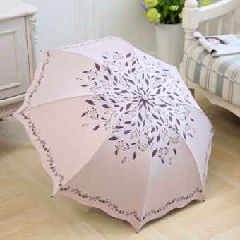 Sunscreen UV ultra-light black umbrella parasol (Lotus pink-recalling acacia) (Lotus pink-recalling acacia)