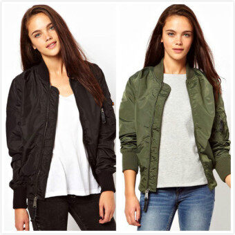 Harga Winter parkas army green bomber jacket women coat zipper female(Army green army green)