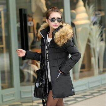 Harga Women Long Winter Jacket Slim Female Coat Thicken Parka Down CottonClothing Hooded Black