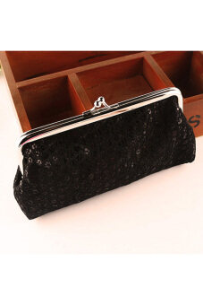 Harga Women Lovely Style Lady Wallet Hasp Sequins Purse Clutch Bag Black
