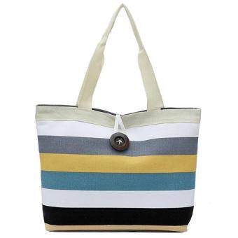 Women Shoulder Handbag Colorful Stripe Canvas Shopping Tote Bag Style A
