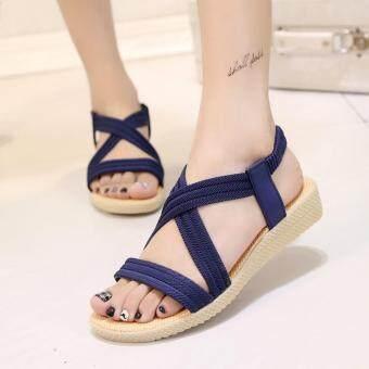 Women Summer Flat Sandals Shoes Open Toe Beach Flip Flops Slipper Sandal -blue dd482a7f59