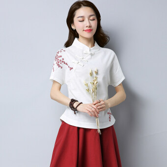 Xia Xin embroidery flower Slimming effect collar plate buttons Linen Top (White)