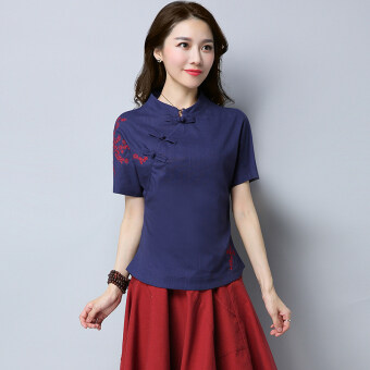 Xia Xin national style cotton linen embroidered flowers slimming Top (Blue)