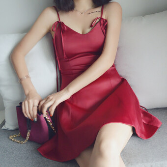 Xia Xin sexy wine red v-neck halter small dress Dress