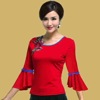 Yan Wang square dance clothing Top (621 red sleeve) (621 red sleeve)