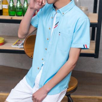 YMV Korean Style Slim Fit Short-sleeved Shirt Men Summer Short Sleeve Shirt Fashion Men's Wear Students Slim Fit Clothes Teenager