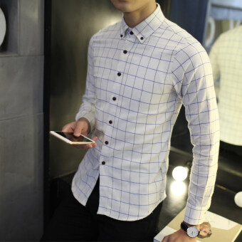 YMV Men's Korean-style Slim Fit Splice Long Sleeves Shirt (C186 white) (C186 white)