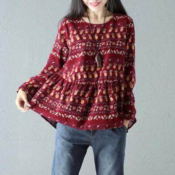 db4494c1572 ZANZEA 2018 Spring Vintage M 5XL Blouse Women Round Neck Long Sleeve Splice  Pleated Boho Printed Shirts Leisure Baggy Pullover Wine Red
