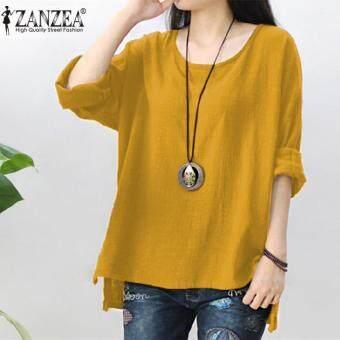 ZANZEA Womens Retro O Neck Long Sleeve Split Baggy Cotton Linen Casual Loose Solid Party Tops Kaftan Shirt Blouse Plus Size (Yellow)