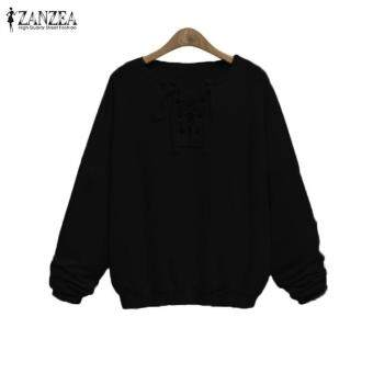 ZANZEA Long Sleeve Crew Neck Lace-Up Autumn Women Blusas Loose Black Gray Burgundy Basic Sweatshirt Pullover Tops Plus Size Black