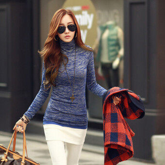 ZANZEA New Women Autumn Sweater Fashion High Neck Long Sleeve Slim Fit Bodycon Knitted Pullovers Casual Knitwear Plus Size Blue