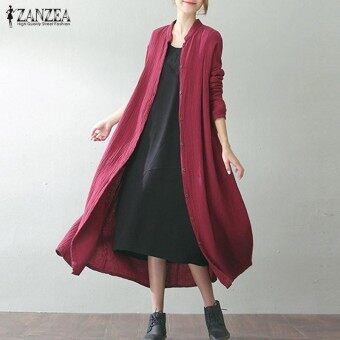 ZANZEA Oversized Women Retro Full Sleeve Pockets Solid Cotton Party Cardigan Autumn Loose Linen Long Coat Jackets Vestido Wine Red