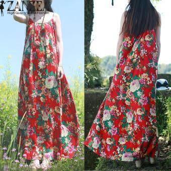 ZANZEA Vintage Floral Print Womens Spaghetti Strap Cotton Linen Maxi Long Dress Summer Chinese Style Beach Party Vestido L-5XL (Red)