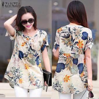 ZANZEA Women Blouses Summer Vintage Print Blusas Shirts O Neck Short Sleeve Roll Up Casual Tees Tops Hot Sale (Orange)