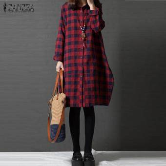 ZANZEA Women Retro Red Plaid Check Long Sleeve Long Shirt Blouse Autumn Turn-down Collar Linen Casual Loose Top Blusas Plus Size(Red Check)