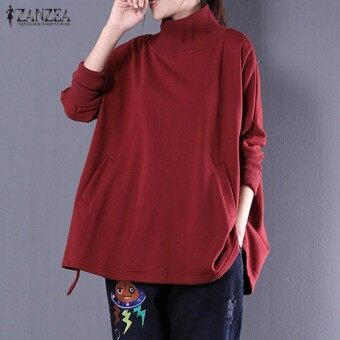 ZANZEA Women Simple Autumn Pockets Baggy Turtle Neck Long Sleeve Sweatshirt Solid Splice Casual Top Blusas Pullover Oversized Wine Red