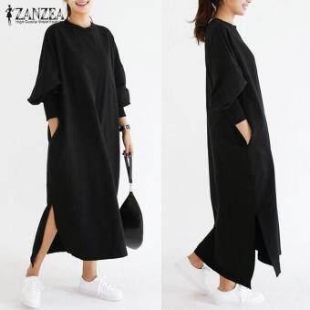 ZANZEA Women Striped Dress Long Batwing Sleeve O-Neck Casual Loose Split Maxi Long Dress Vestidos (Black)