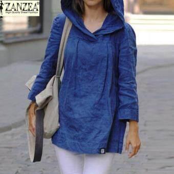 ZANZEA Women Tops Autumn Casual Loose Hooded Blusas Long Sleeve Vintage Solid Cotton Blouses Long Shirts Plus Size (Blue)