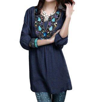 ZANZEA Women V-neck Embroidery Diamonds Blouse Summer Ladies 3/4 Sleeve Casual Vintage Loose Long Shirt Tops Plus Size Blue