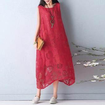 ZANZEA Women's Sleeveless Lace Crochet Tank Dress Asymmetrical Long Shirt Dress Red