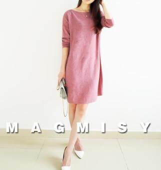 ZASHION Long Sleeves Classic Korean Dress with Belt (Pink)