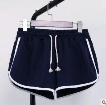 ZASHION Plus Size Short Adjustable Waist Female Sports Pants (Navy)