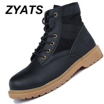 ZYATS 2017 Autumn Winter New Men Genuine Leather High-top Martin Boots Waterproof Ankle Boots Outdoor Desert Boots Black