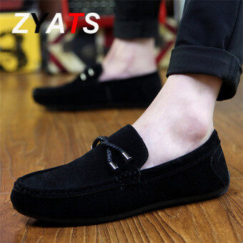 ZYATS 2018 New Leather Men's Flats Shoes Breathable Casual Loafers Slip-On