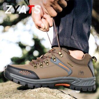 ZYATS Men Waterproof Hiking Climbing Shoes Suede Boots Thermal Winter Outdoor Mountain Sneakers High Sports Shoes Lelaki Kasut Khaki