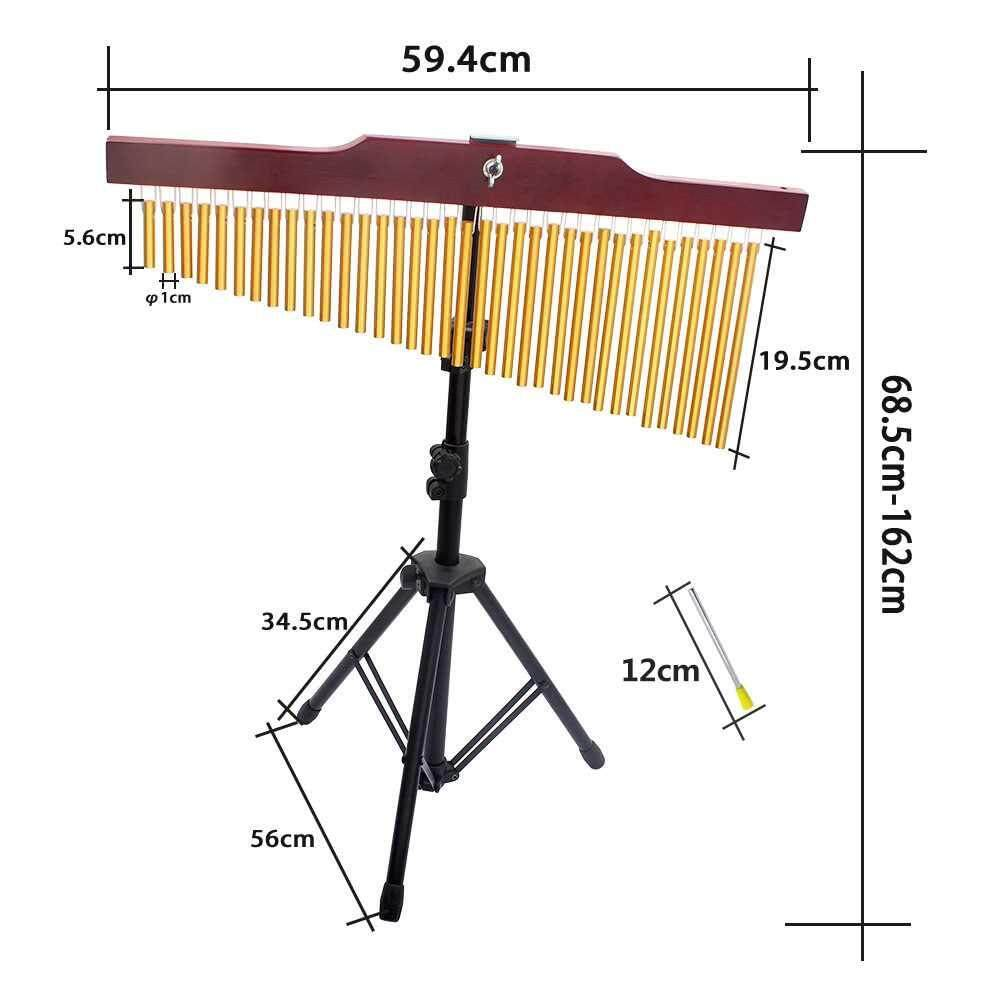 36-Tone Golden Bar Chimes 36 Bars Single-row Wind Chime Musical Percussion Instrument with Tripod Stand and Striker