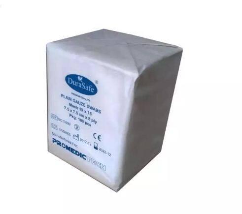 DURASAFE Plain Gauze Swabs 7.5x7.5cm x 8ply