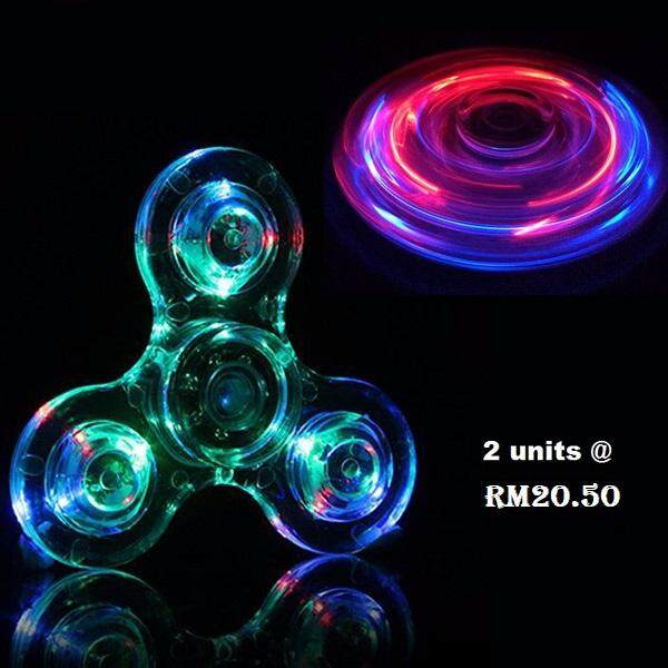 2pcs Fidget Spinner LED Transparent Switch Crystal Rainbow Spinner Toys for boys