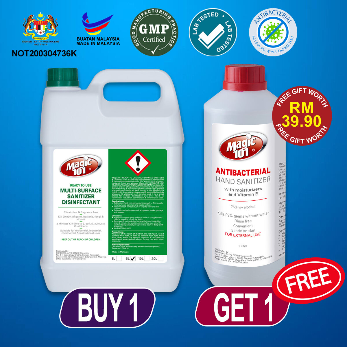 Magic101 Hard Surface Sanitizer Disinfectant Cleaner (READY TO USE) 5L FREE Magic101 Hand sanitizer 1L